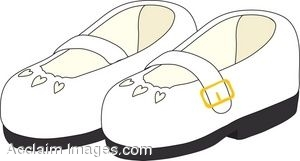 Clipart Illustration of Child's White Leather Shoes.