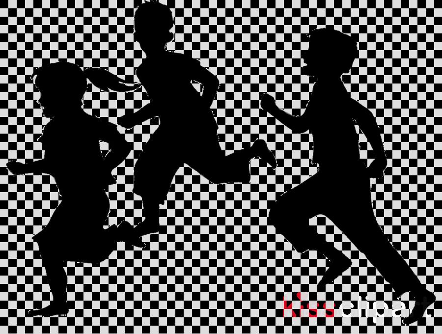 Kids Running Silhouette clipart.