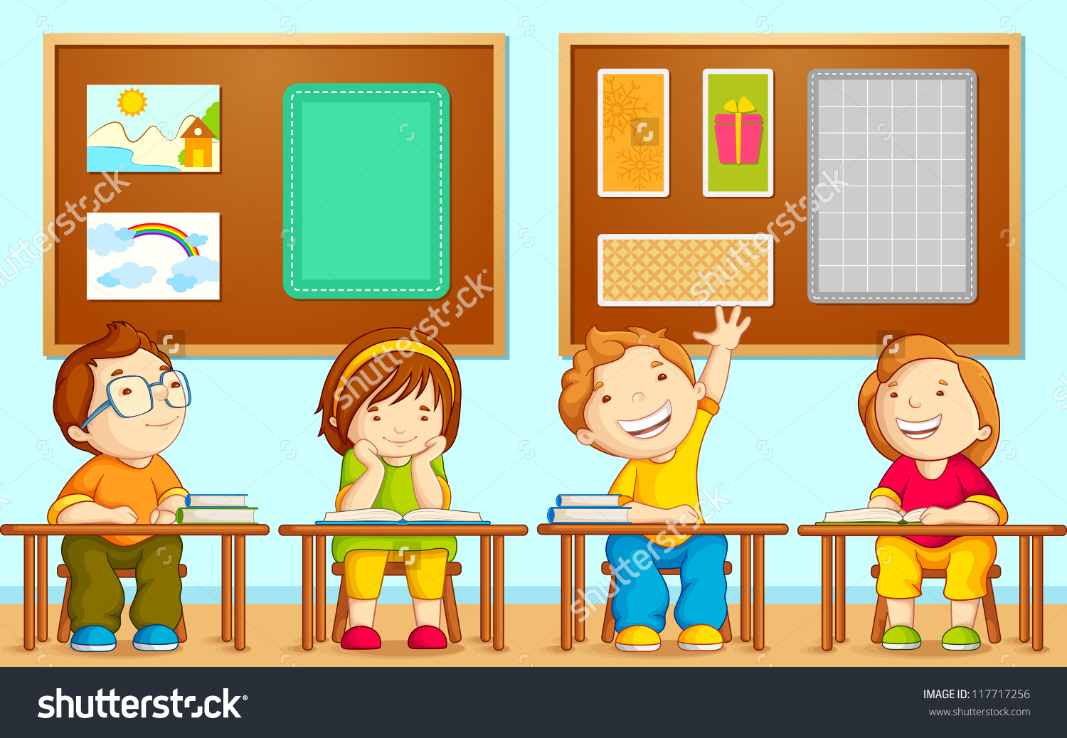 Vector Illustration Children Sitting On Table Stock Vector.