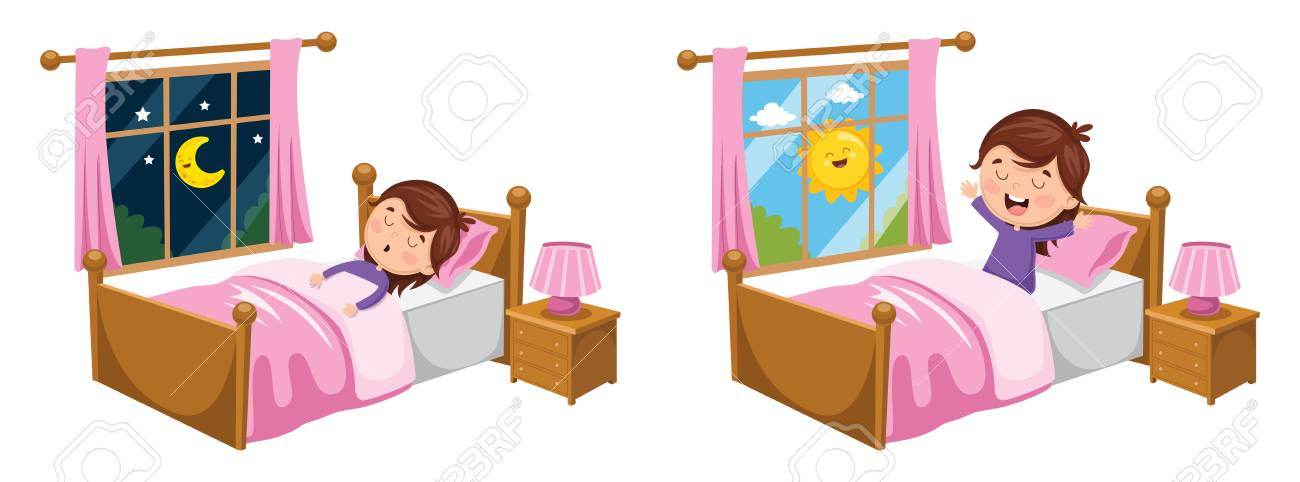 A Vector Illustration Of Kid Sleeping And Waking Up.