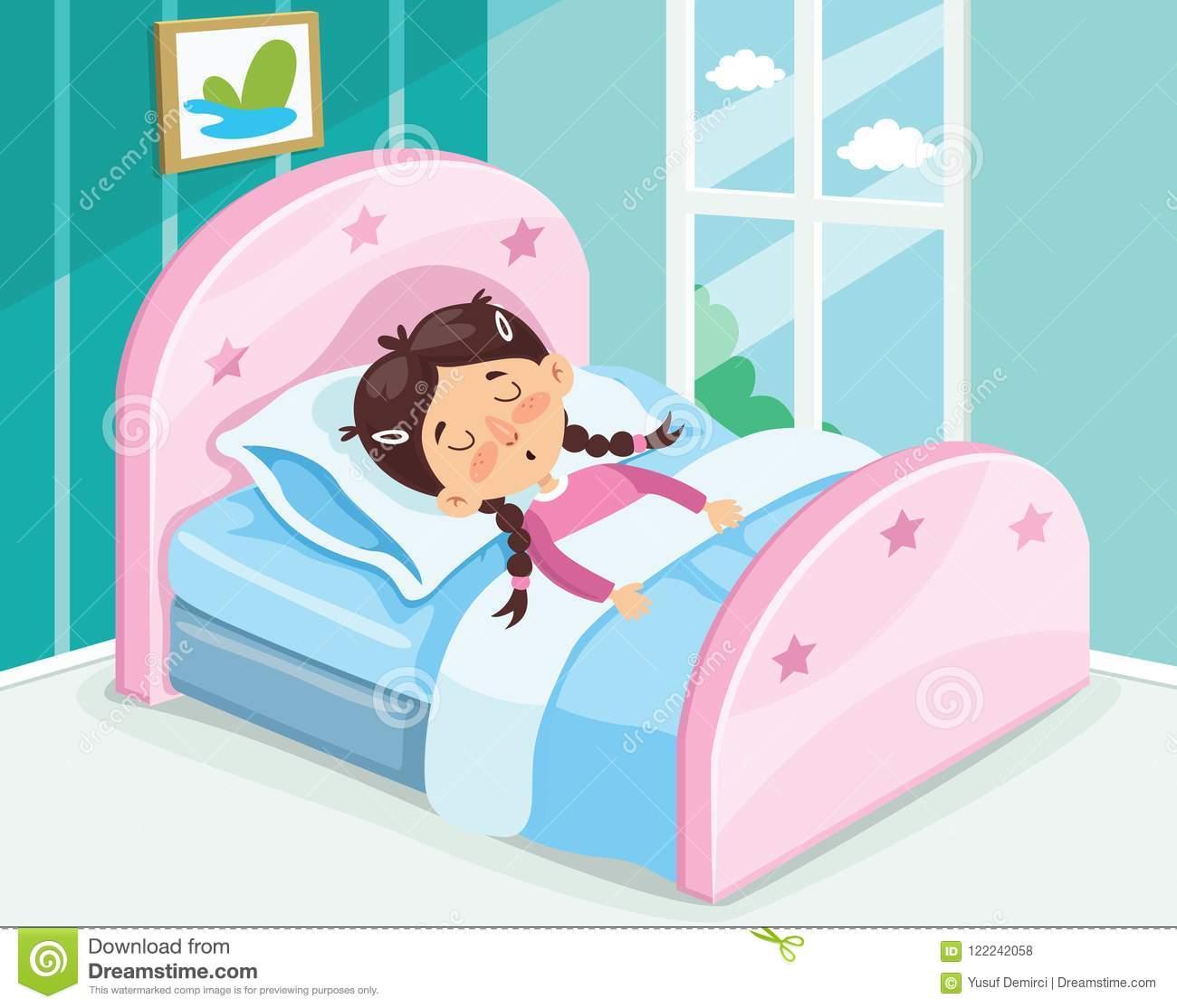 Vector Illustration Of Kid Sleeping Stock Illustration.