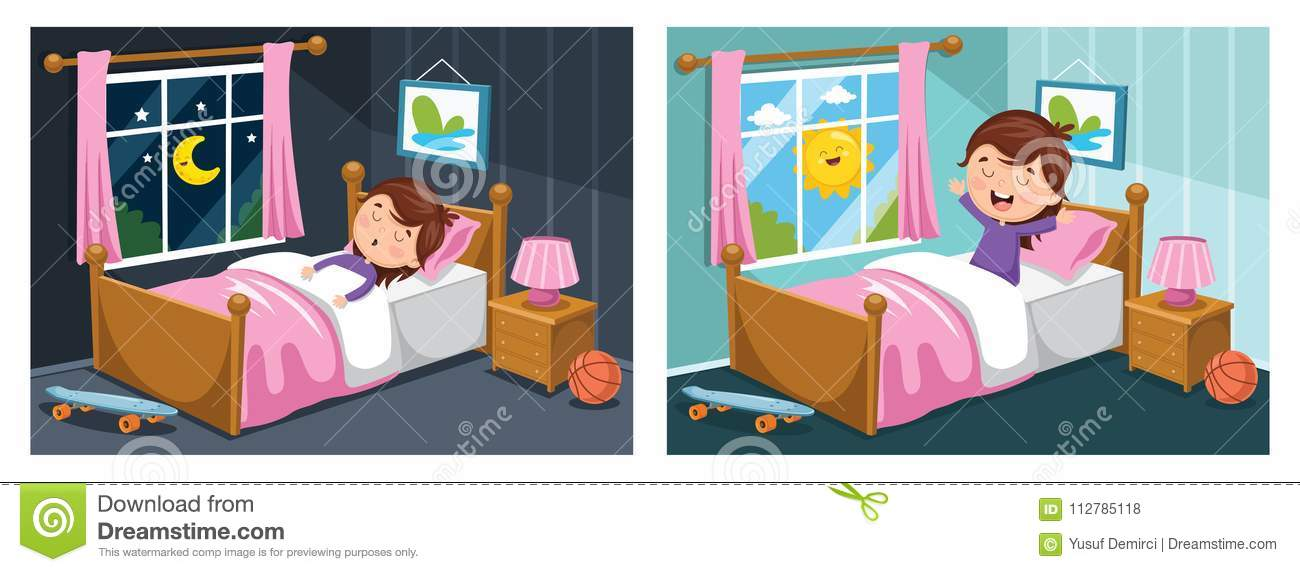Vector Illustration Of Kid Sleeping And Waking Up Stock Illustration.