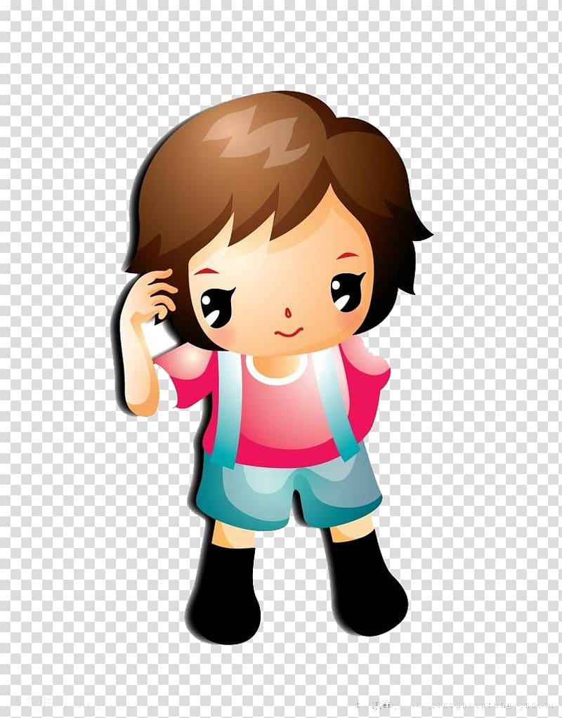 A child standing thinking transparent background PNG clipart.