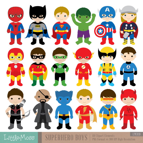 18 Boys Superhero Costumes Clipart, Superheroes Clipart, Superhero.