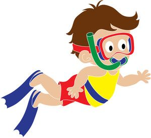 boy swimming clipart black and white.