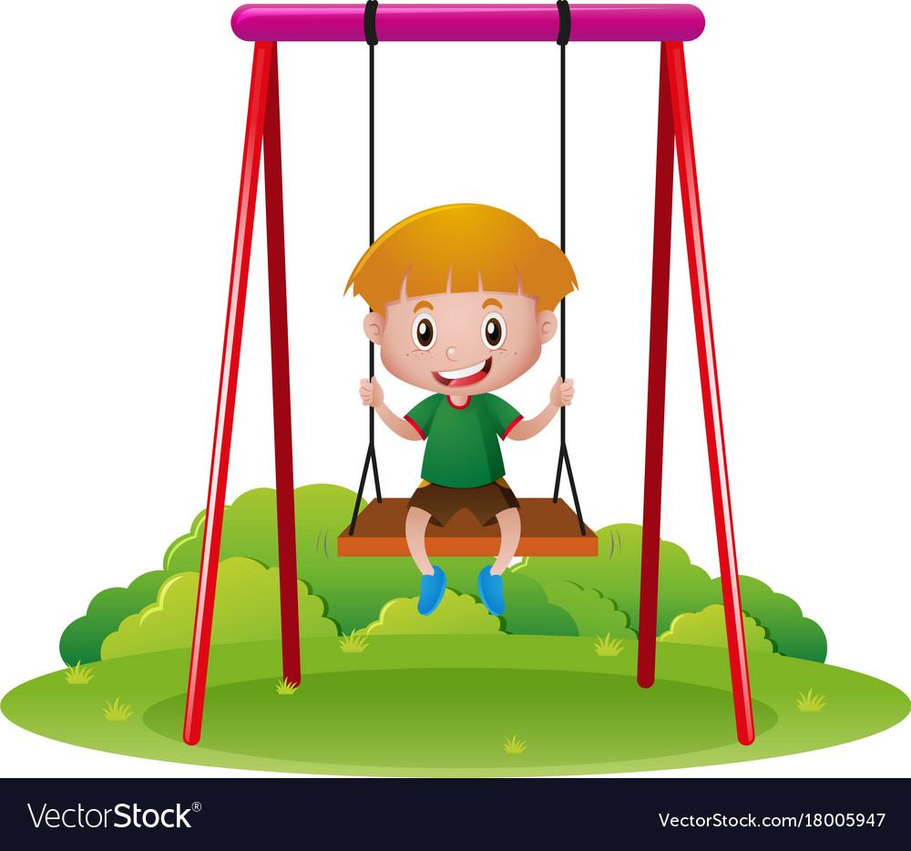 Happy boy on swing.
