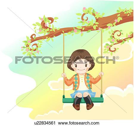 Clipart of swing, kid, tree swing, tree branch, girl, holding.