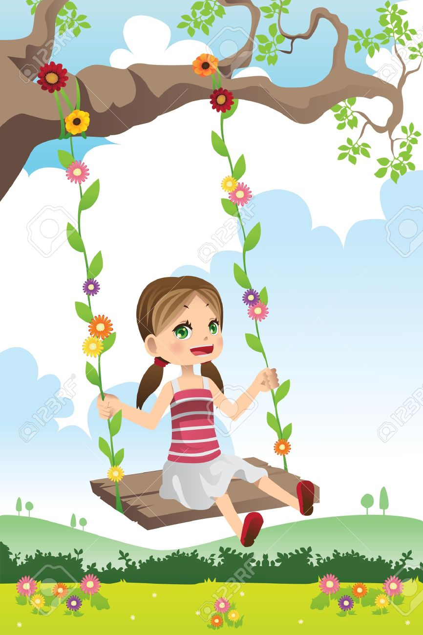 A Illustration Of A Cute Little Girl Swinging On A Tree Royalty.