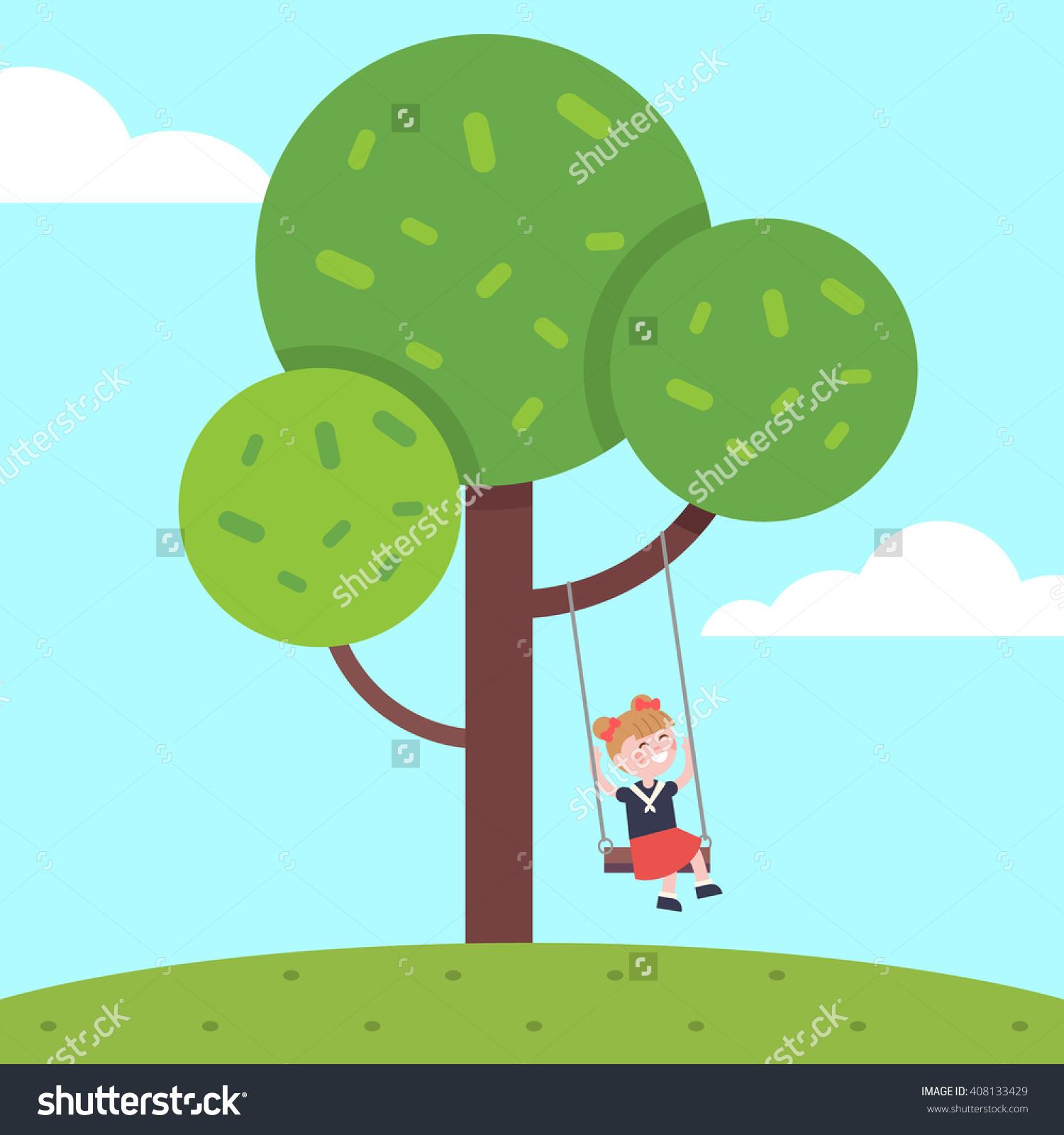 Girl Swinging On Tree Rope Swing Stock Vector 408133429.