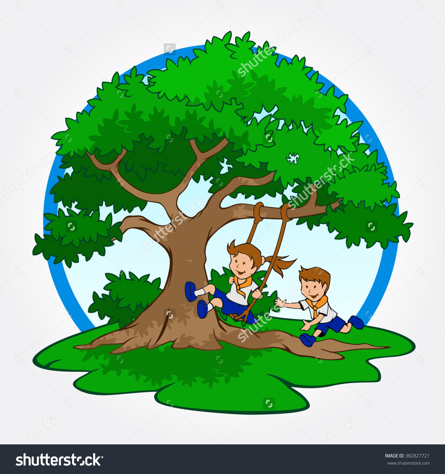 Tree Child Play Swing Under Tree Stock Vector 382827721.