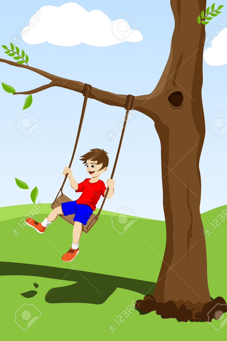 Happy Kid Swinging On A Tree Outside Royalty Free Cliparts.