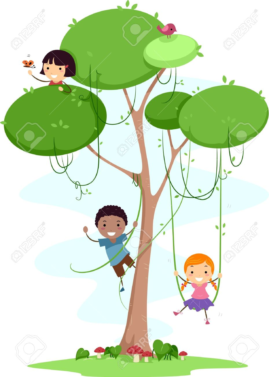 Illustration Of Kids Playing With Vines Stock Photo, Picture And.