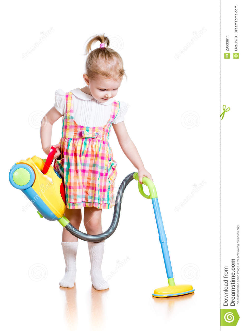 Child Girl Playing And Cleaning Room With Toy Vacuum Cleaner Stock.