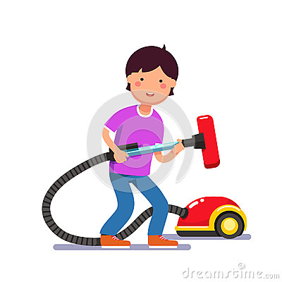 Boy Kid Holding Electric Vacuum Cleaner Pipe Stock Vector.