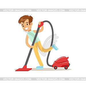Cleaning Floor With Vacuum Cleaner Smiling.