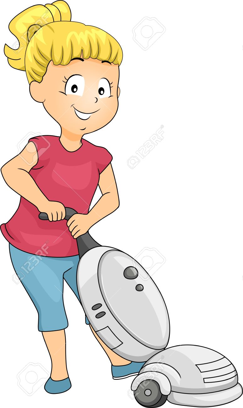 Illustration Of Little Kid Girl Cleaning Using Vacuum Cleaner.