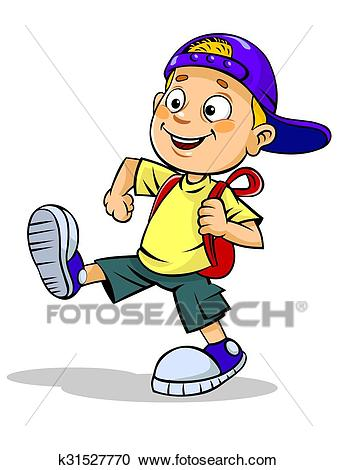 Kid walks with school bag Clipart.