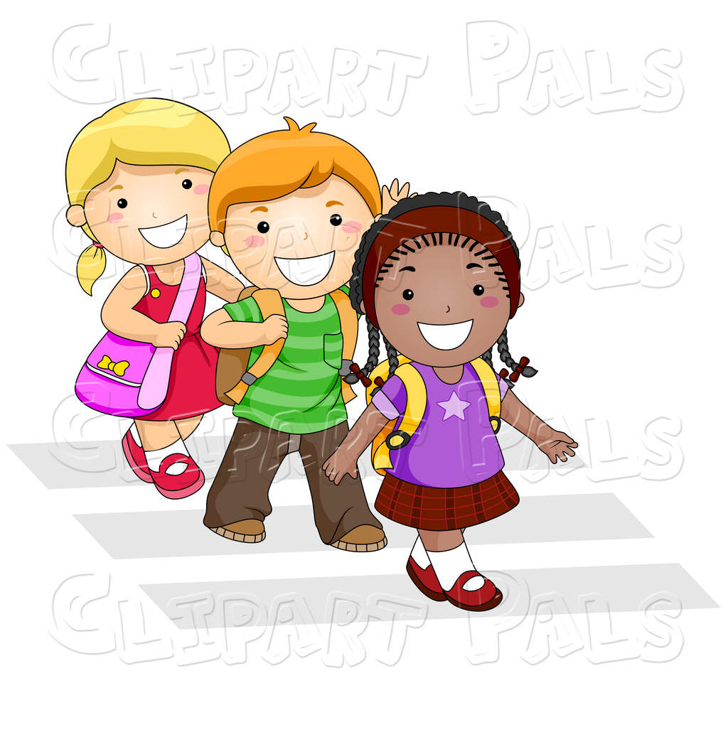 Kids Walking To School Clipart Crosswlk On Trio.