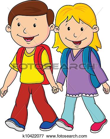 Clipart of Kids in their school uniform walking at the hill.