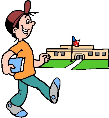 Kid Walking To School Clipart.