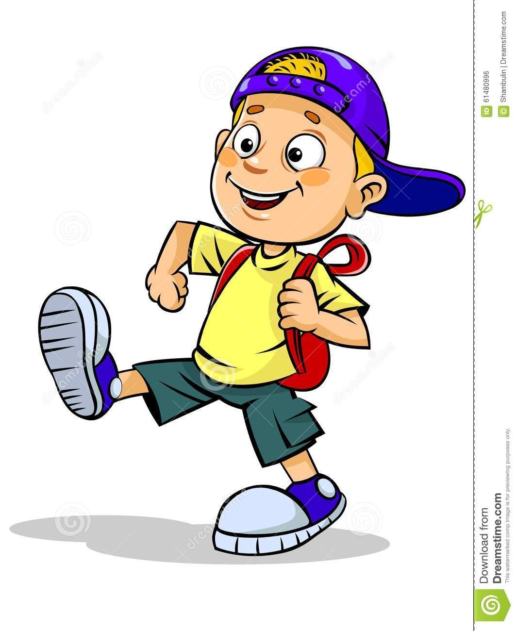 Kid Walks With School Bag Stock Illustration.