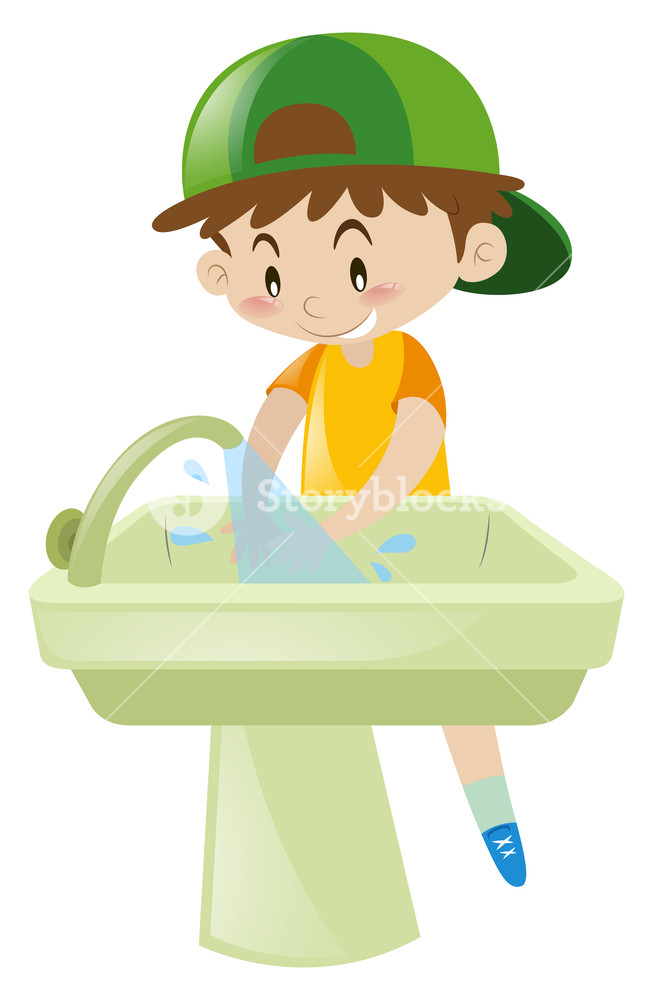 Boy washing hands in sink illustration Royalty.