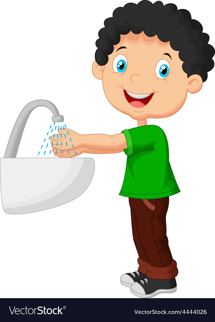 Boy washing his hands on a white background.