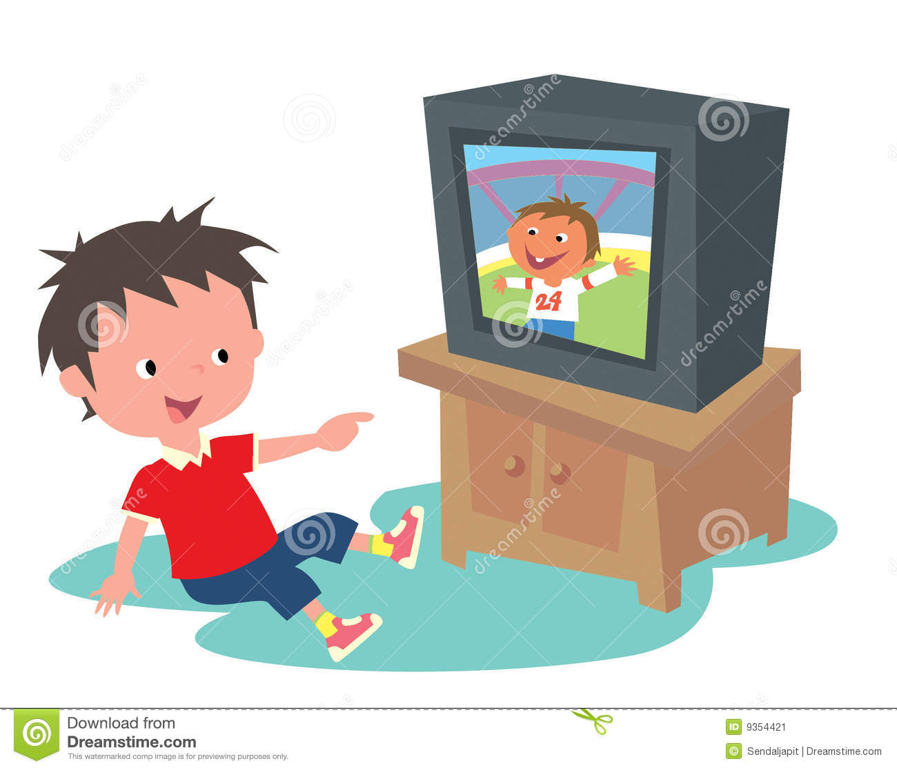 Kid watching TV stock illustration. Illustration of children.