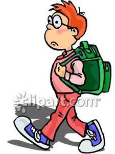 Kid With Backpack Clipart.