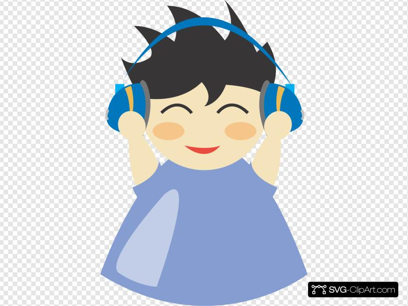 Boy With Headphones 2 Clip art, Icon and SVG.