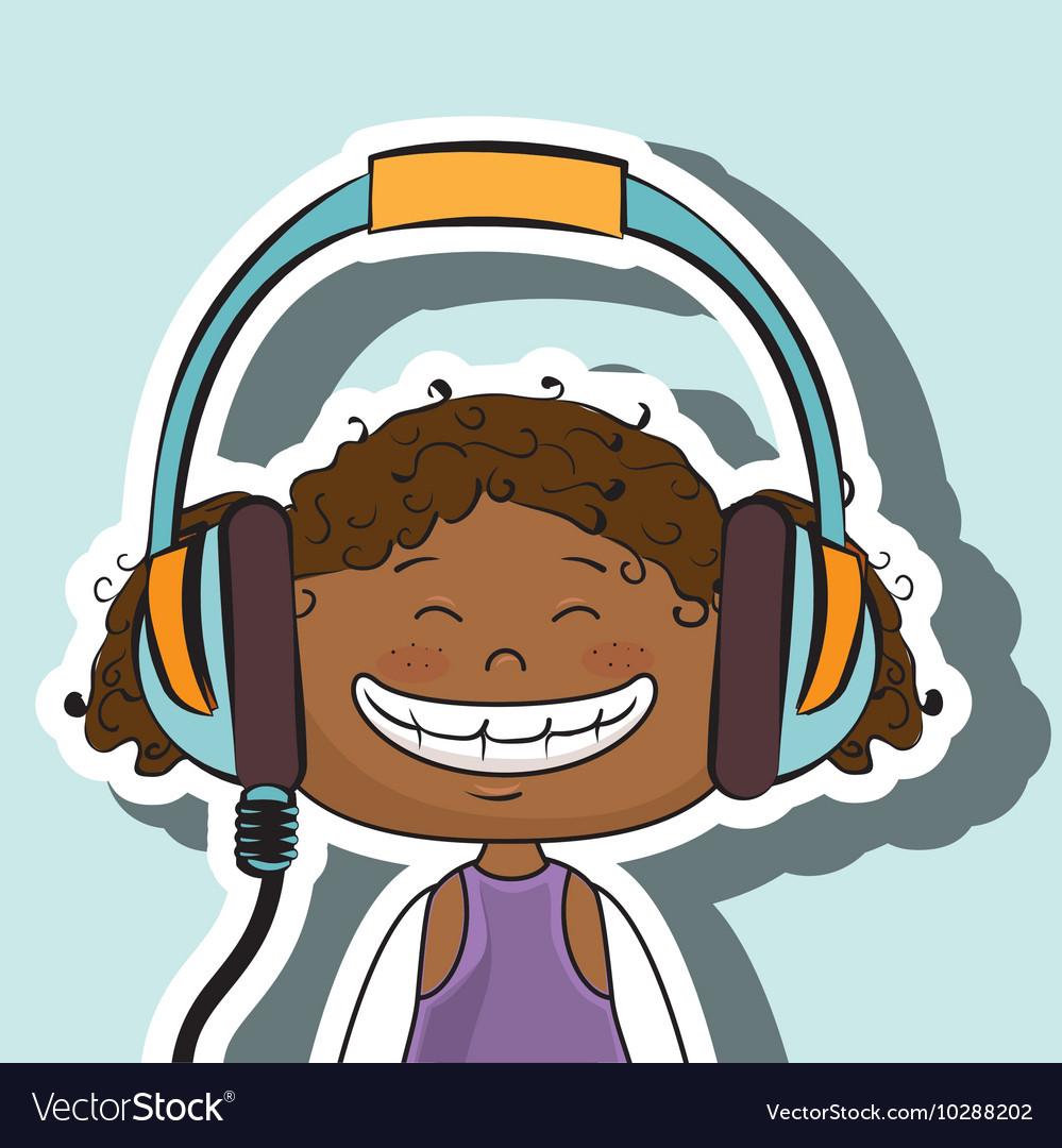 Girl kid headphones music icon.