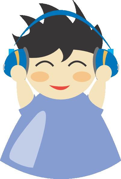 Boy With Headphones 2 Clip Art at Clker.com.