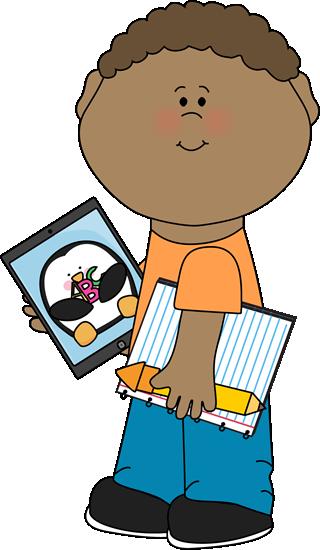 Kid with iPad Clip Art.