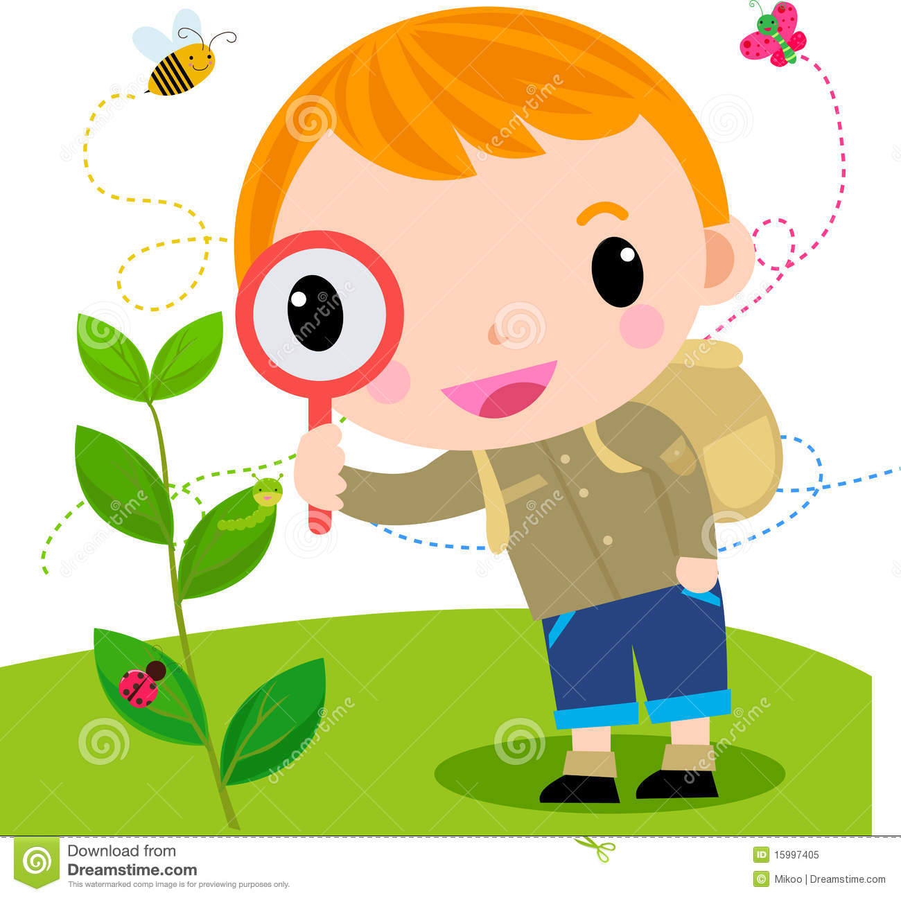 Child With Magnifying Glass Clipart.