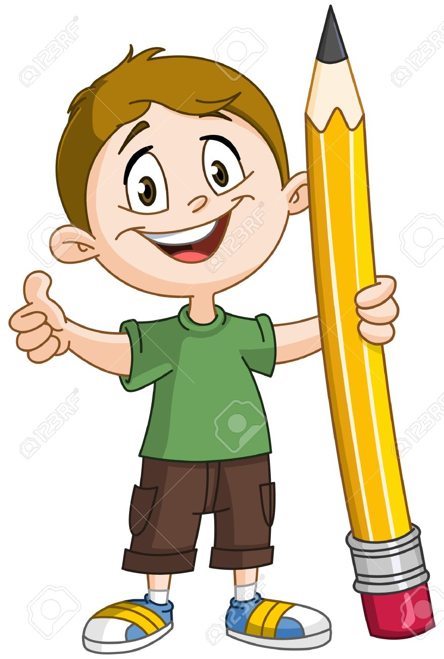 Young boy holding a big pencil and showing thumb up.