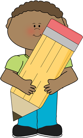 Boy Holding Pencil Clip Art.