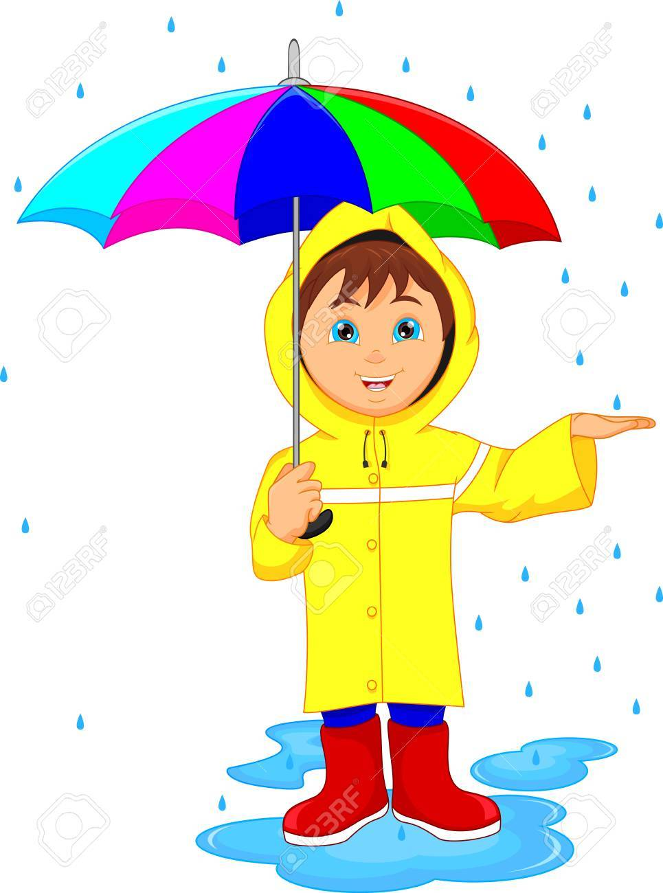 little boy in rain with umbrella.