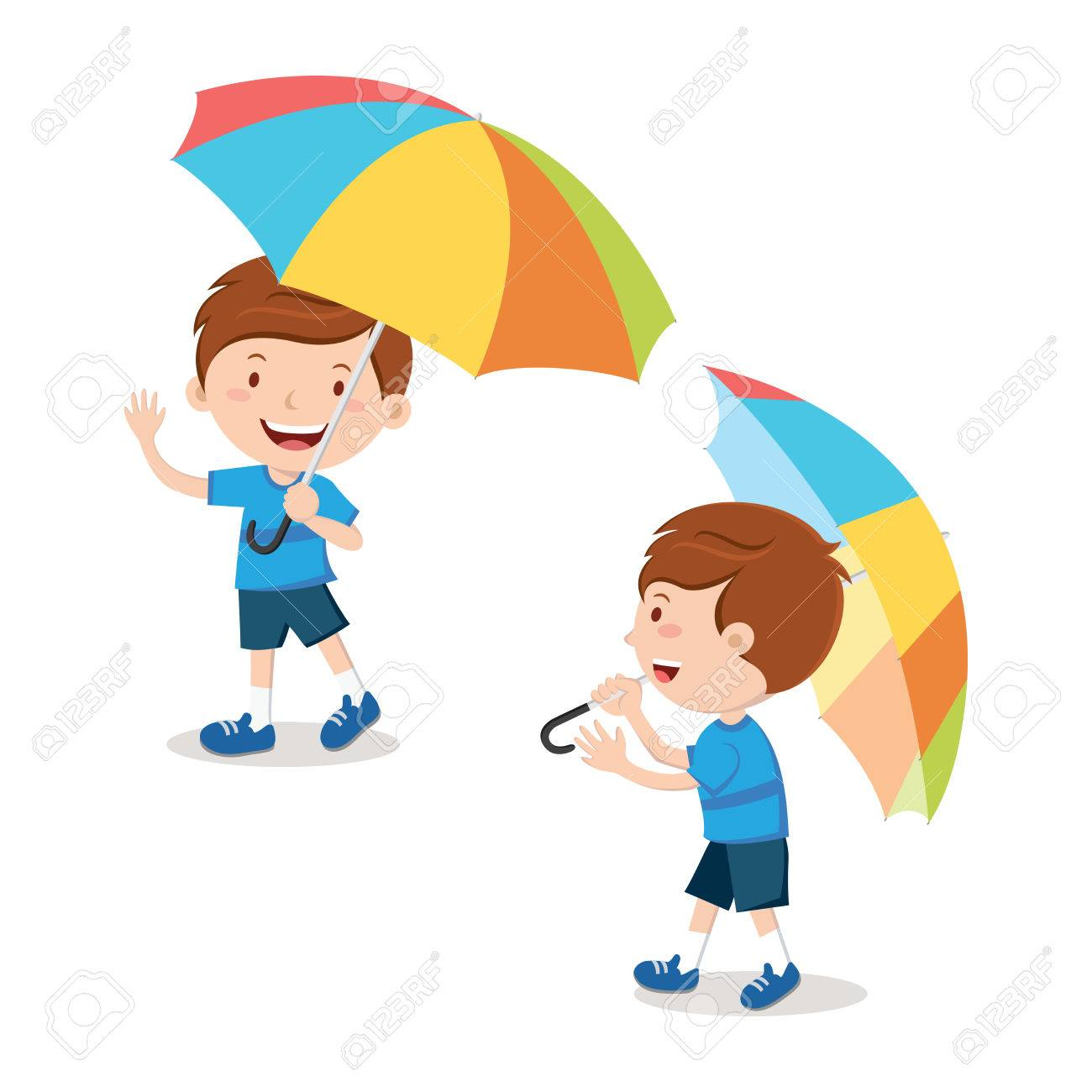 Little boy with multicolor umbrella.