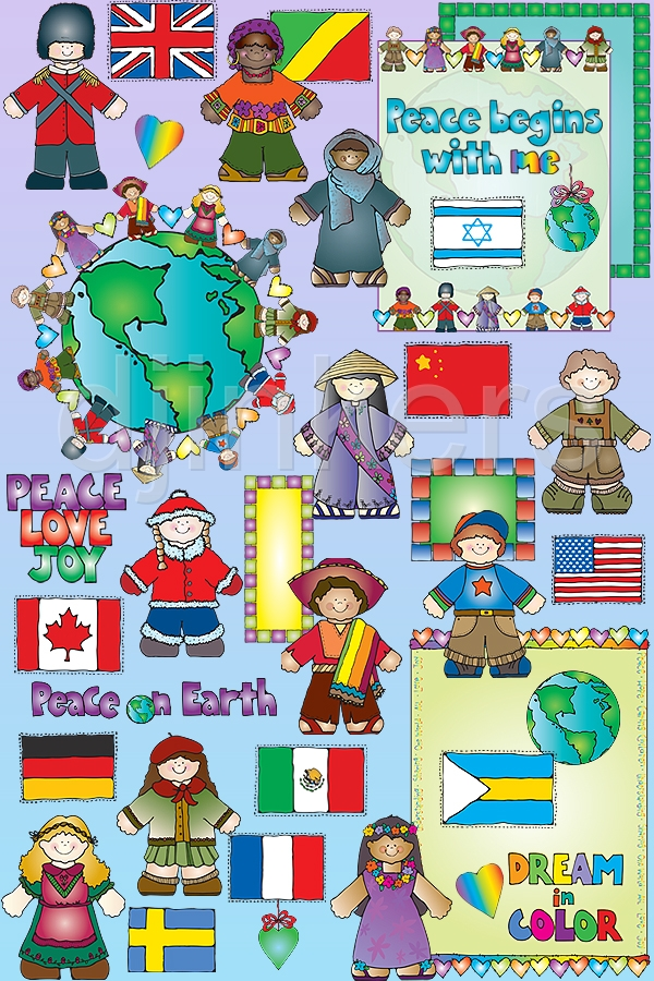 Clip art of kids around the world by Dianne J Hook..