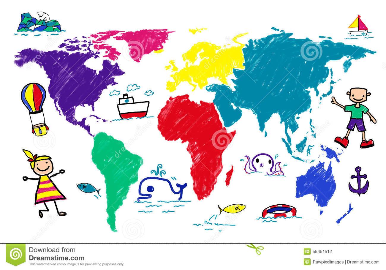 Adventure Travel Clipart World Kids Journey Imagination Concept.