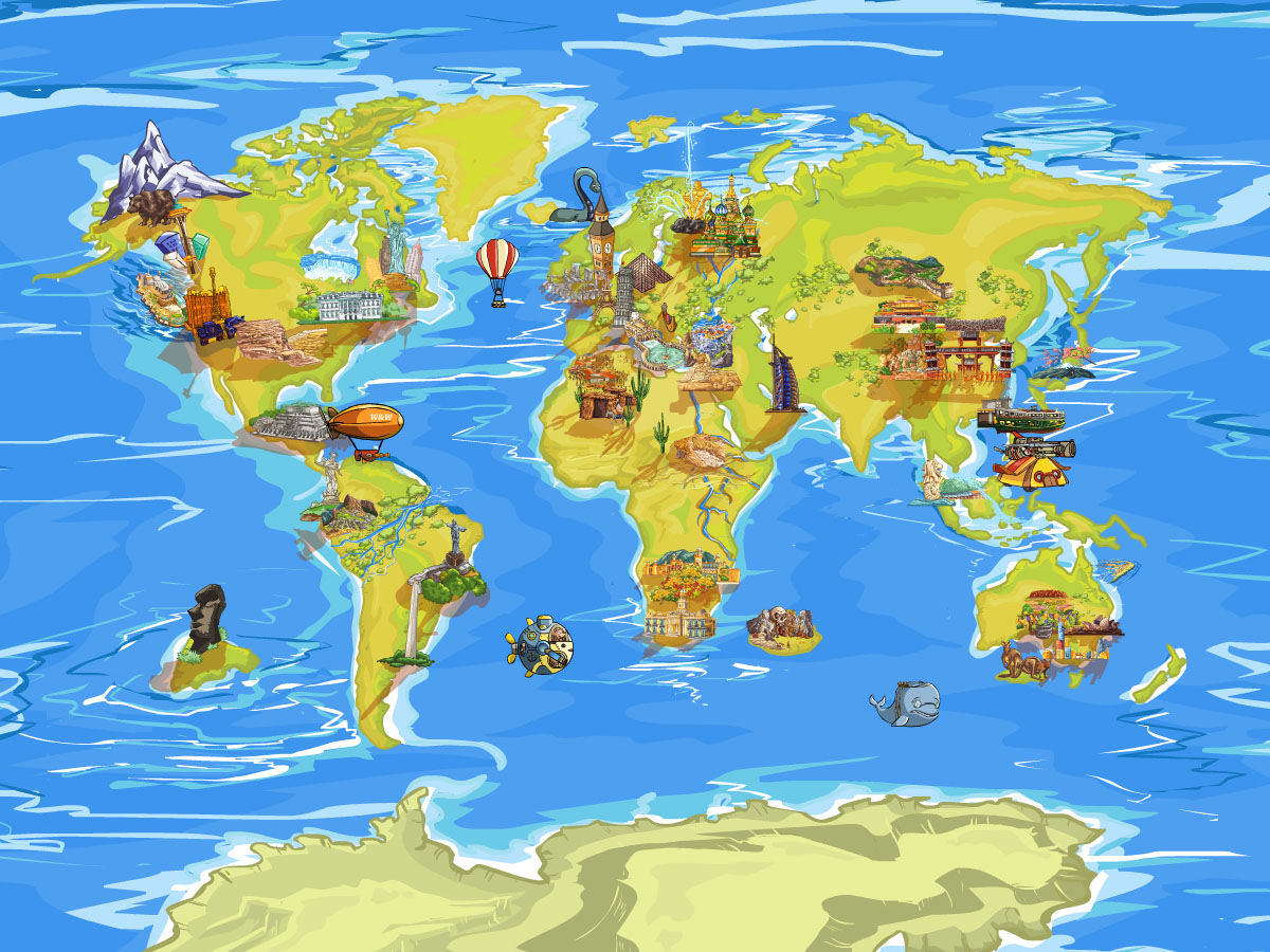 how to create world map with travel places