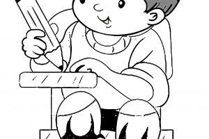 Kid writing clipart black and white 4 » Clipart Portal.