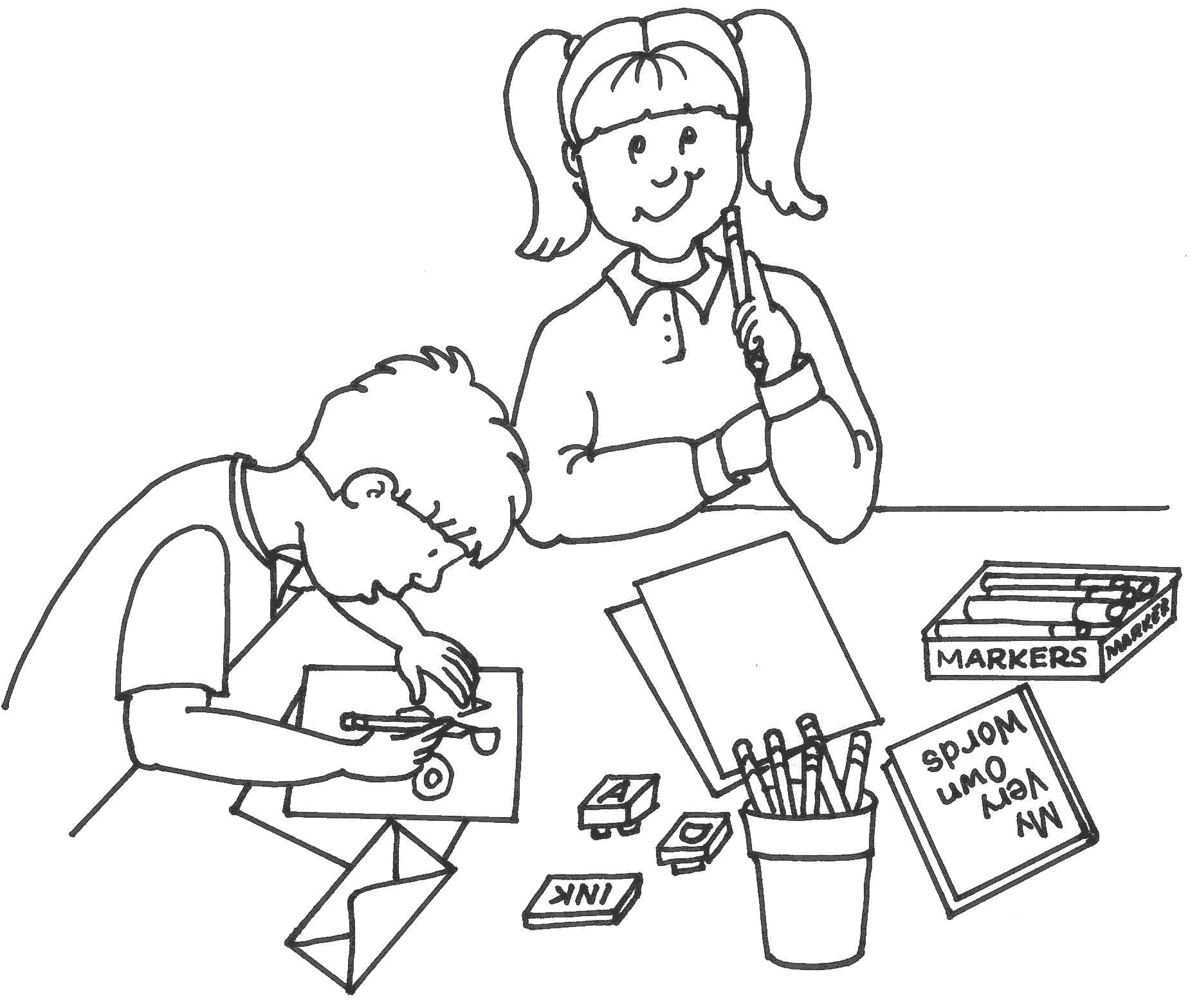 School Children Writing Clipart Black And White with regard to Kids.