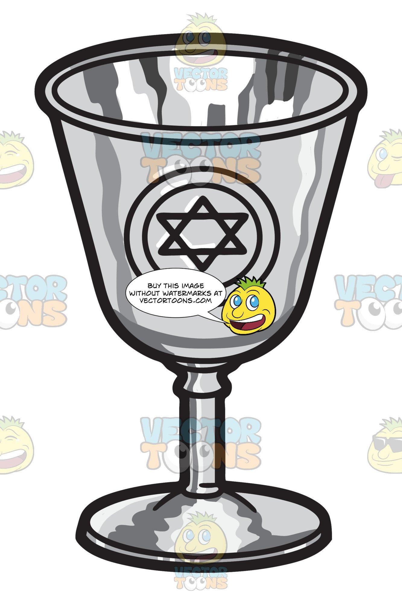A silver kiddush Cup.