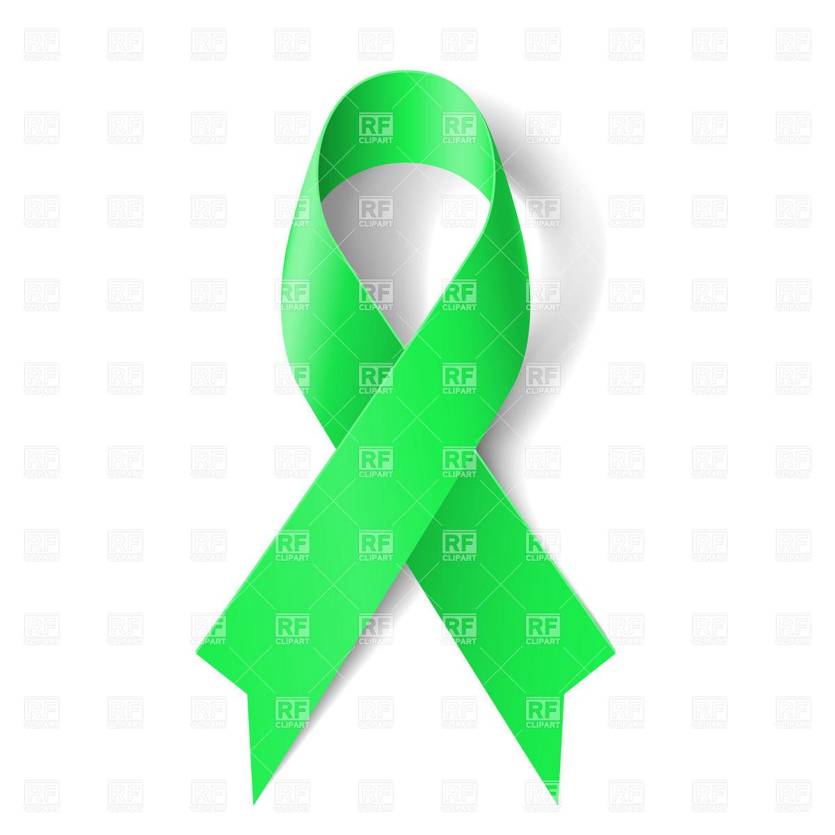 Kidney cancer awareness green ribbon Stock Vector Image.