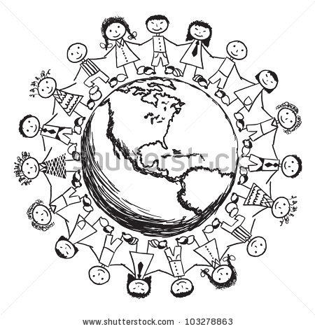 Kids All Around The World Together Clipart Black And White