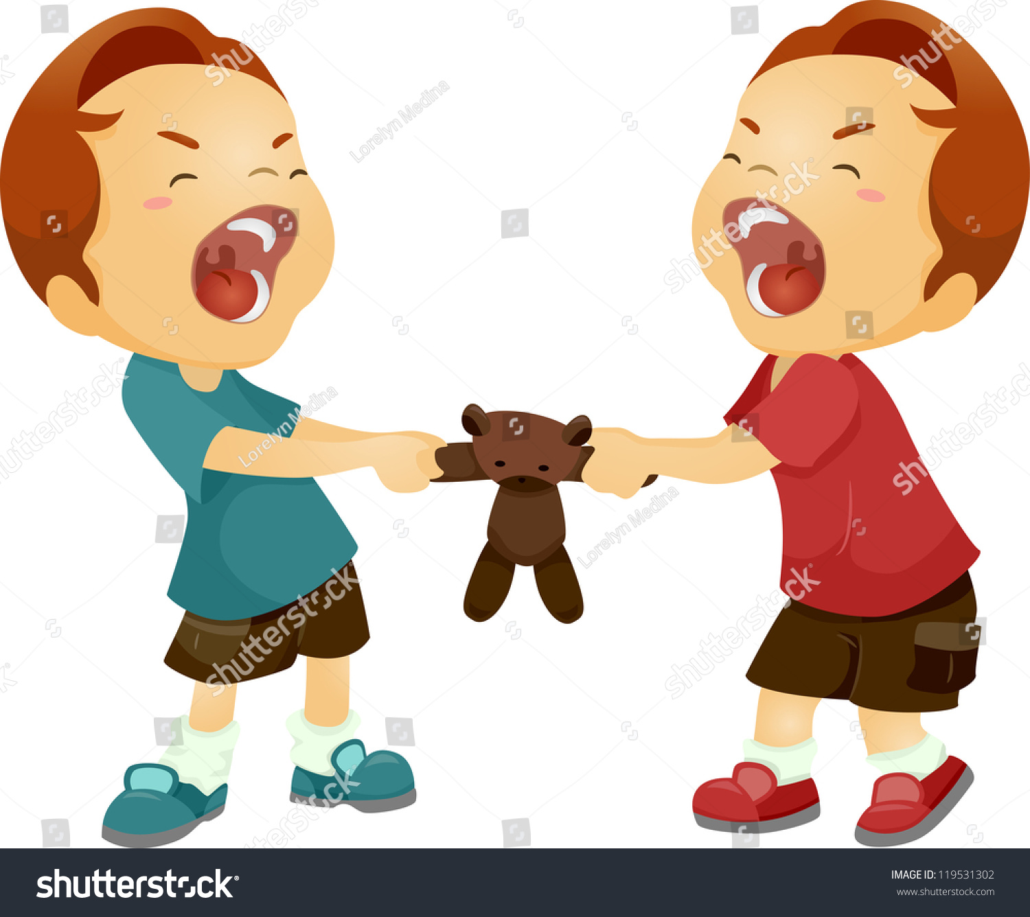 Kids Fighting Over Toys Clipart.