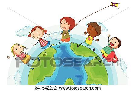 Kids running around the world Clipart.