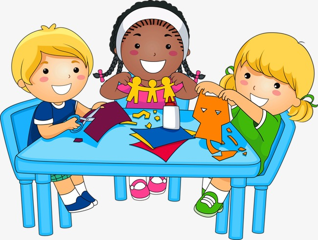 Kids At A Table Clipart.
