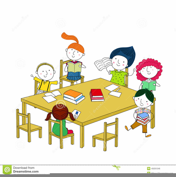Children Sitting At Table Clipart.